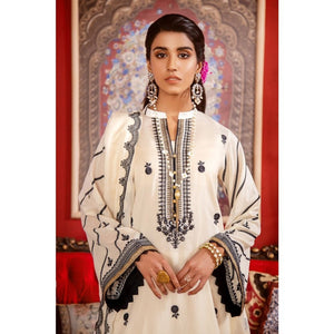 3PC Unstitched Festive Embroidered Suit with Embroidered Lawn Dupatta FE-312
