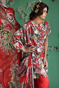 RED 3 PC BAMBOO SILK DRESS BS-12