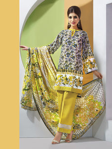 Gul Ahmed 3 Piece Unstitched Printed Lawn Dress CL-210 C - Green