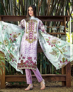 Gul Ahmed Lilac – Printed Lawn With Embellished Neck – 3 Pc Un-stitched Suit – C # 418