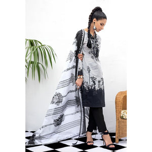 Gul Ahmed Black & White Collection 2020 2 PC Unstitched Lawn Suit BT-15