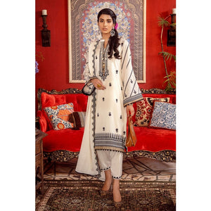3PC Unstitched Festive Embroidered Suit with Embroidered Lawn Dupatta FE-310