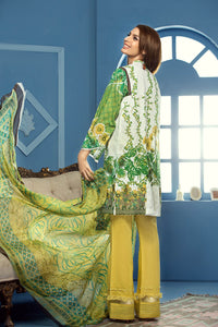 Gul Ahmed 3 Piece Unstitched Embroidered La Chiffon Dress C-386 - Green