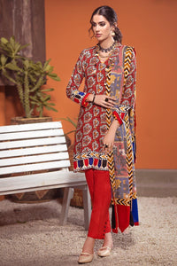 3 PC Unstitched Twill Linen Suit with Pashmina Shawl AP-34