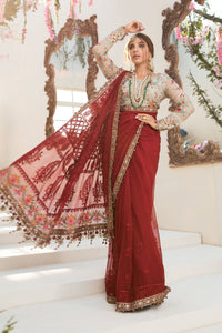 MARIA B Mbroidered 3 PC Unstitched Deep red and Beige Suit - BD-2107