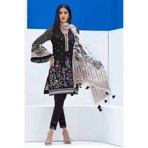 Gul Ahmed Embroidered Cotton Unstitched 3 Piece Suit BM-131 - BLACK