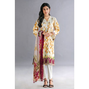Embroidered Jacquard Unstitched 3 Piece Suit BM-147
