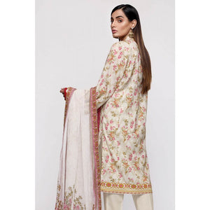 Gul Ahmed Lawn with CHiffon Dupatta Unstitched 3 Piece Suit BM-154