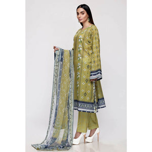 Gul Ahmed Lawn with Chiffon Dupatta Unstitched 3 Piece Suit BM-156