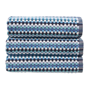Christy Carnaby Stripe 550gsm Cotton Towels - Blue