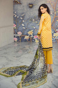Gul Ahmed Printed Chiffon Unstitched 3 Piece Suit C-523