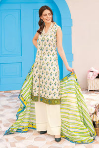 3PC Unstitched Gold Printed Lawn Suit With Gold Printed Lawn Dupatta CL-1040-B