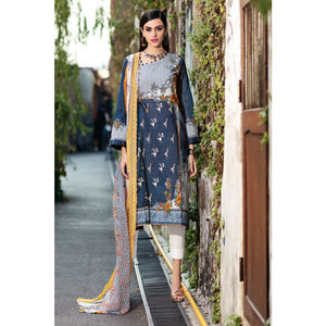3 PC Unstitched Embroidered Lawn Suit with Chiffon Dupatta CT-254