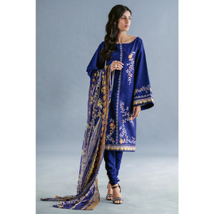 Embroidered Jacquard Unstitched 3 Piece Suit CT-264