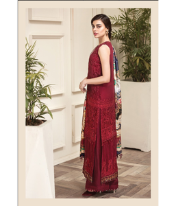 Jazmin Amerrati Luxury Chiffon 2020 Embroidered 3Pc Suit D-04 Nuriye