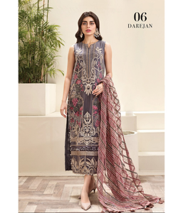 Jazmin Amerrati Luxury Chiffon 2020 Embroidered 3Pc Suit D-06 Darejan