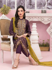 TAWAKKAL Bedazzled Embroidered Gold Table Print Unstitched Collection D-8914