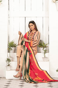 Allure Slab Linen Embroidered & Printed 3 Piece Un-Stitched Suit D-9405
