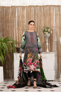 Allure Slab Linen Embroidered & Printed 3 Piece Un-Stitched Suit D-9406