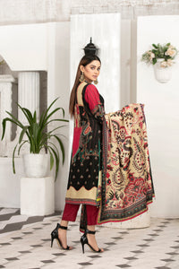 Allure Slab Linen Embroidered & Printed 3 Piece Un-Stitched Suit D-9410