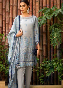 Gul Ahmed Embroidered Cotton Silk Unstitched 3 Piece Suit EA-100 - Light Grey