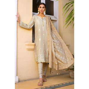Gul Ahmed Embroidered Cotton Silk Unstitched 3 Piece Suit EA-63 - Light Beige