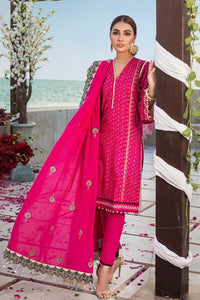 3PC Unstitched Lawn Screen Printed Suit With Embroidered Lawn Dupatta - FE-12230-MASTANI