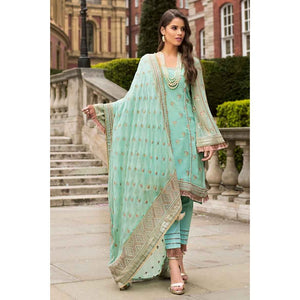 Embroidered Cotton Unstitched 3 Piece Suit FE-170 - Sea Green