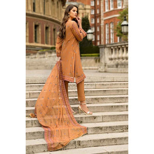 Embroidered Cotton Unstitched 3 Piece Suit FE-171 - Orange