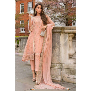 Embroidered Chiffon UN-stitched 3 Piece Suit FE-172 - Dark Peach