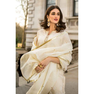 Embroidered Lawn Unstitched 3 Piece Suit FE-198 - Cream