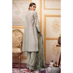 Embroidered Cotton Unstitched 3 Piece Suit FE-209 - Grey