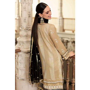 Embroidered Cotton Unstitched 3 Piece Suit FE-216 - Camel