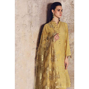 Embroidered Zari Unstitched 3 Piece Suit FE-226 - Mustard