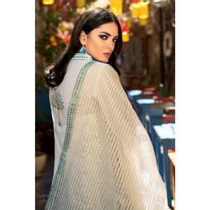 Embroidered Cotton Unstitched 3 Piece Suit FE-231 - Off White