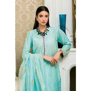 Embroidered Cotton Unstitched 3 Piece Suit FE-236 - Sea Green