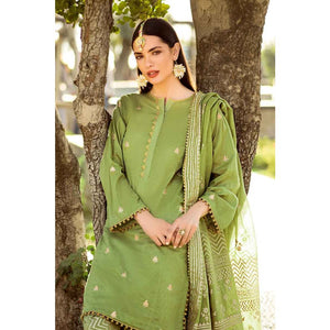 Embroidered Cotton Unstitched 3 Piece Suit FE-245 - Green