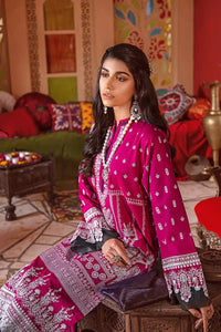 3 PC Unstitched Embroidered Suit with Silver Printed Dupatta FE-352