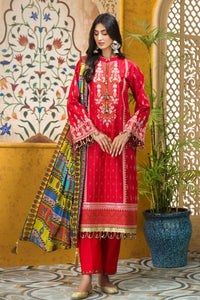 Gul Ahmed 3 PC Embroidered Digital Printed-Suit with Zari Dupatta FE-359