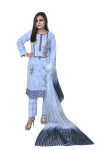 The Ocean 3 Piece Stitched Embroidered Linen Suit With Organza Dupatta SA-006