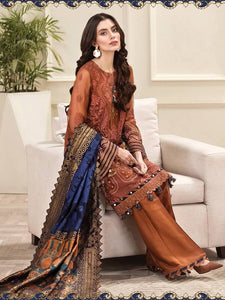 Jazmin Amerrati Luxury Chiffon 2020 Embroidered 3Pc Suit D-02 Meysuri