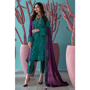Embroidered Chiffon Unstitched 3 Piece Suit LE-20