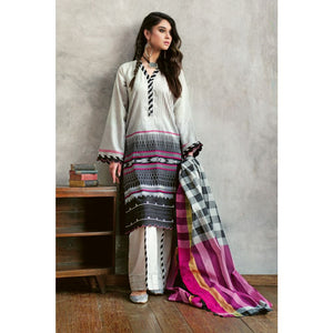 Printed Jacquard Unstitched 3 Piece Suit MJ-16
