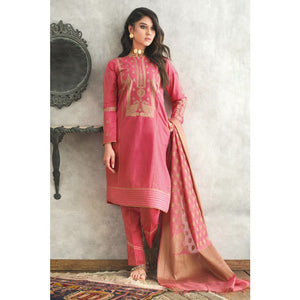 Embroidered Jacquard Unstitched 3 Piece Suit MJ-29