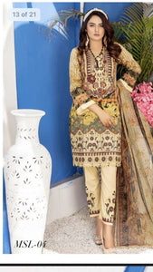 Munira Designer 3 Piece Stitched Digital Print Swiss Lawn Suit - MSL-04