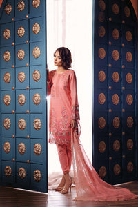 Ready To Wear Gul Ahmed 3 Piece Embroidered Luxury Chiffon Eid-Ul-Fitr Collection Pink Suit - PM-200