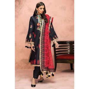 Embroidered Jacquard Unstitched 3 Piece Suit PM-330