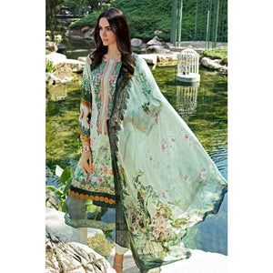 Digital prinetd and Embroidered Unstitched 3 Piece Suit SSM-26