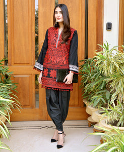Sana Safinaz Winter Shawl Collection Unstitched Suit - Red