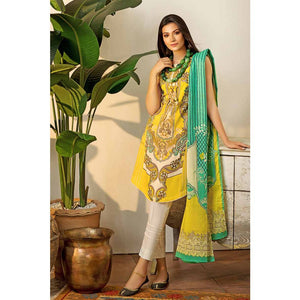 Gul Ahmed Embroidered Cambric Unstitched 2 Piece Suit TCN-43 B - Yellow & Green